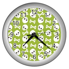 Skull Bone Mask Face White Green Wall Clocks (Silver)