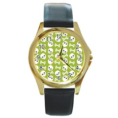 Skull Bone Mask Face White Green Round Gold Metal Watch