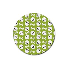 Skull Bone Mask Face White Green Rubber Coaster (Round)
