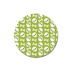 Skull Bone Mask Face White Green Magnet 3  (Round)