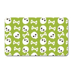 Skull Bone Mask Face White Green Magnet (Rectangular)