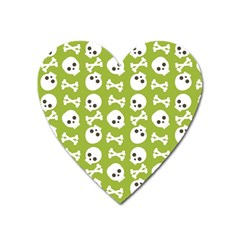 Skull Bone Mask Face White Green Heart Magnet