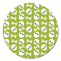 Skull Bone Mask Face White Green Magnet 5  (Round)