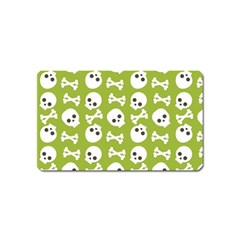 Skull Bone Mask Face White Green Magnet (Name Card)