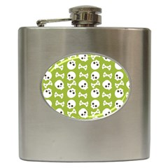Skull Bone Mask Face White Green Hip Flask (6 oz)
