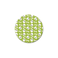 Skull Bone Mask Face White Green Golf Ball Marker (10 pack)