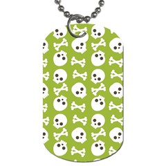 Skull Bone Mask Face White Green Dog Tag (Two Sides)