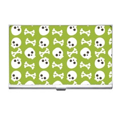 Skull Bone Mask Face White Green Business Card Holders