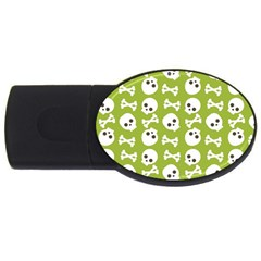 Skull Bone Mask Face White Green USB Flash Drive Oval (2 GB)