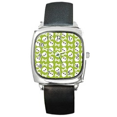 Skull Bone Mask Face White Green Square Metal Watch