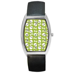 Skull Bone Mask Face White Green Barrel Style Metal Watch