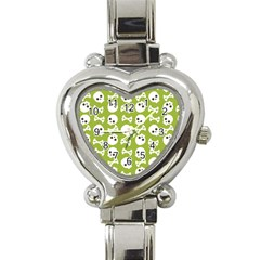 Skull Bone Mask Face White Green Heart Italian Charm Watch