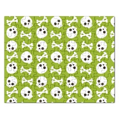 Skull Bone Mask Face White Green Rectangular Jigsaw Puzzl