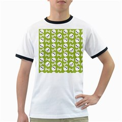 Skull Bone Mask Face White Green Ringer T-Shirts