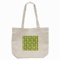 Skull Bone Mask Face White Green Tote Bag (Cream)