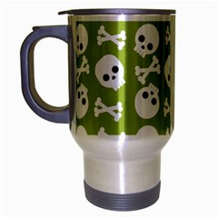Skull Bone Mask Face White Green Travel Mug (Silver Gray)