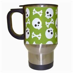 Skull Bone Mask Face White Green Travel Mugs (White)