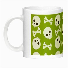 Skull Bone Mask Face White Green Night Luminous Mugs by Alisyart