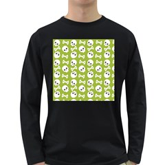 Skull Bone Mask Face White Green Long Sleeve Dark T-Shirts