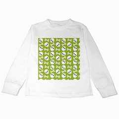 Skull Bone Mask Face White Green Kids Long Sleeve T-Shirts