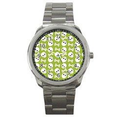 Skull Bone Mask Face White Green Sport Metal Watch