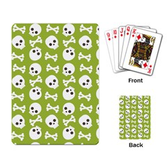 Skull Bone Mask Face White Green Playing Card