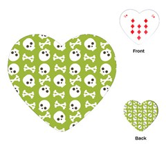 Skull Bone Mask Face White Green Playing Cards (Heart)