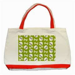 Skull Bone Mask Face White Green Classic Tote Bag (Red)
