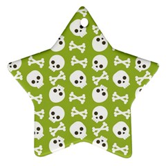 Skull Bone Mask Face White Green Star Ornament (Two Sides)