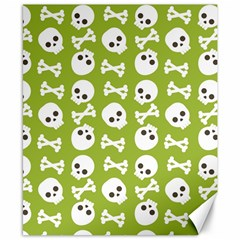 Skull Bone Mask Face White Green Canvas 8  x 10