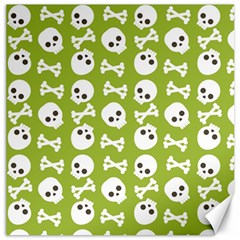 Skull Bone Mask Face White Green Canvas 12  x 12