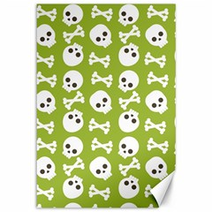 Skull Bone Mask Face White Green Canvas 12  x 18