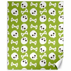 Skull Bone Mask Face White Green Canvas 16  x 20