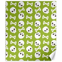 Skull Bone Mask Face White Green Canvas 20  x 24
