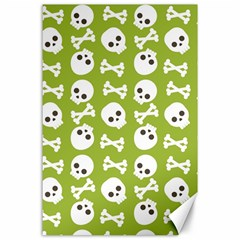 Skull Bone Mask Face White Green Canvas 24  x 36