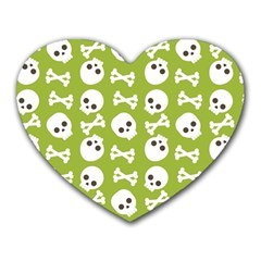 Skull Bone Mask Face White Green Heart Mousepads
