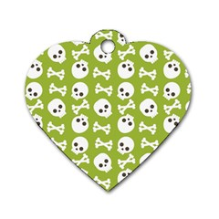 Skull Bone Mask Face White Green Dog Tag Heart (One Side)