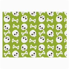 Skull Bone Mask Face White Green Large Glasses Cloth (2-Side)