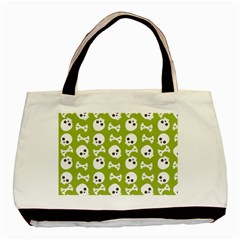 Skull Bone Mask Face White Green Basic Tote Bag (Two Sides)