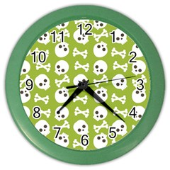 Skull Bone Mask Face White Green Color Wall Clocks