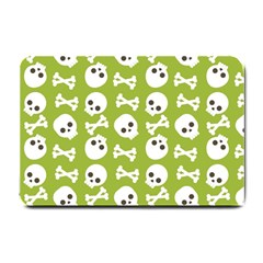 Skull Bone Mask Face White Green Small Doormat