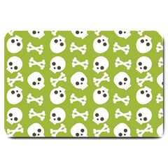 Skull Bone Mask Face White Green Large Doormat