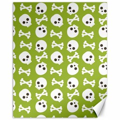Skull Bone Mask Face White Green Canvas 11  x 14