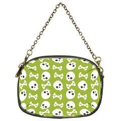 Skull Bone Mask Face White Green Chain Purses (One Side)
