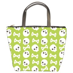 Skull Bone Mask Face White Green Bucket Bags
