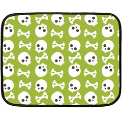 Skull Bone Mask Face White Green Fleece Blanket (Mini)