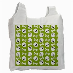 Skull Bone Mask Face White Green Recycle Bag (One Side)