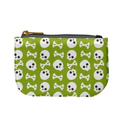 Skull Bone Mask Face White Green Mini Coin Purses