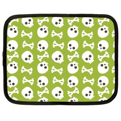 Skull Bone Mask Face White Green Netbook Case (XL)
