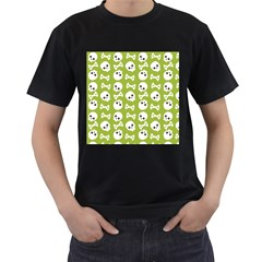 Skull Bone Mask Face White Green Men s T-Shirt (Black)